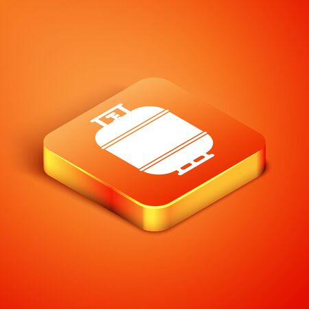 Isometric Propane gas tank icon isolated on orange background. Flammable gas tank icon. Vector Illustration