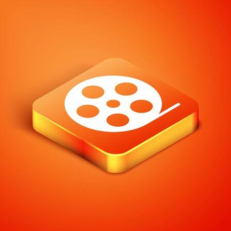 Isometric Film reel icon isolated on orange background. Vector Illustration