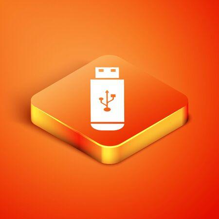 Isometric USB flash drive icon isolated on orange background. Vector Illustration