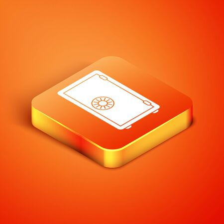 Isometric Safe icon isolated on orange background. The door safe a bank vault with a combination lock. Reliable Data Protection. Vector Illustration
