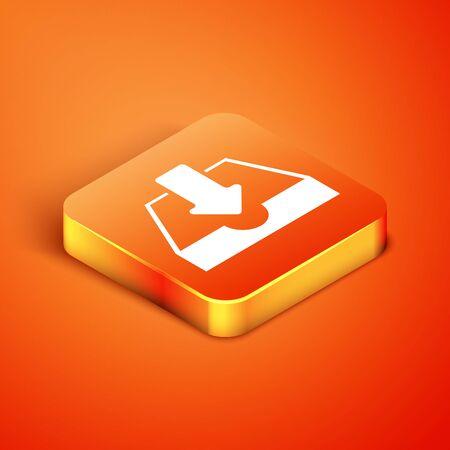 Isometric Download inbox icon isolated on orange background. Vector Illustration