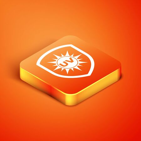 Isometric UV protection icon isolated on orange background. Sun and shield. Ultra violet rays radiation. SPF sun sign. Vector Illustration