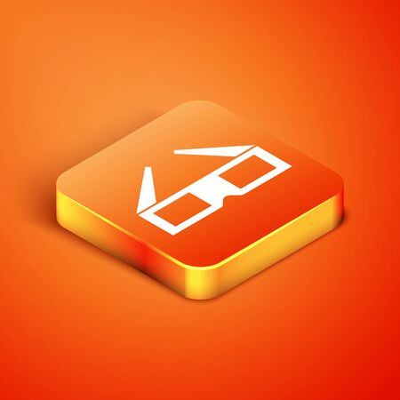 Isometric 3D cinema glasses icon isolated on orange background. Vector Illustration