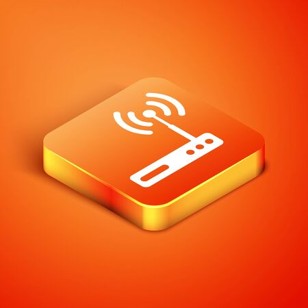 Isometric Router and symbol icon isolated on orange background. Wireless modem router. Computer technology internet. Vector Illustration