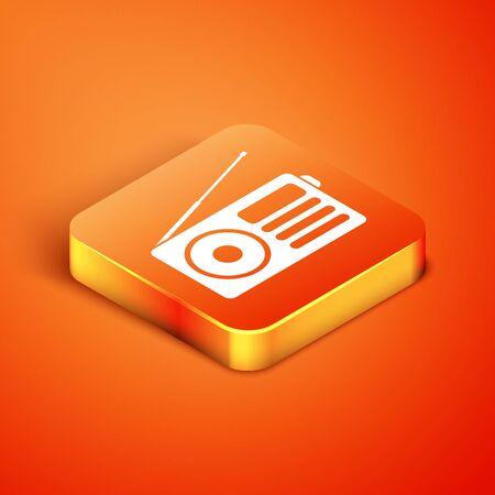Isometric Radio with antenna icon isolated on orange background. Vector Illustration