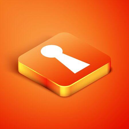 Isometric Keyhole icon isolated on orange background. Key of success solution. Keyhole express the concept of riddle, secret, safety, security. Vector Illustration