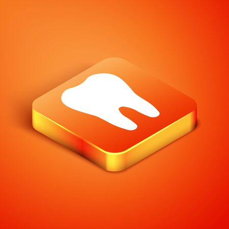 Isometric Tooth icon isolated on orange background. Tooth symbol for dentistry clinic or dentist medical center and toothpaste package. Vector Illustration