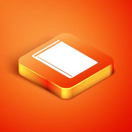 Isometric Book icon isolated on orange background. Vector Illustration