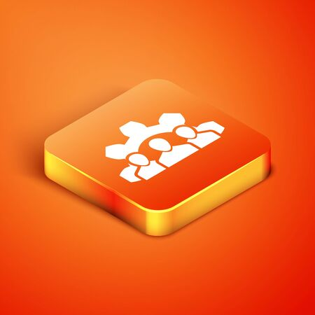 Isometric Project team base icon isolated on orange background. Business analysis and planning, consulting, team work, project management. Vector Illustration