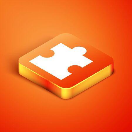 Isometric Piece of puzzle icon isolated on orange background. Modern flat, business, marketing, finance, internet concept. Vector Illustration