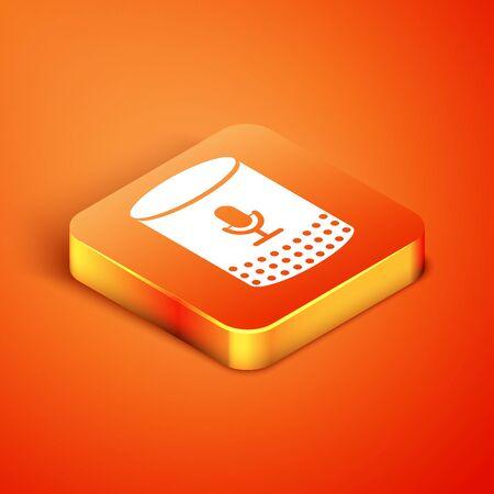 Isometric Voice assistant icon isolated on orange background. Voice control user interface smart speaker. Vector Illustration Ilustracja