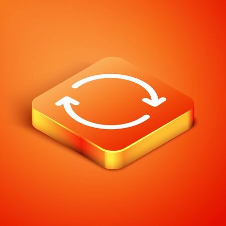 Isometric Refresh icon isolated on orange background. Reload symbol. Rotation arrows in a circle sign. Vector Illustration