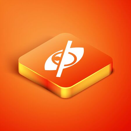 Isometric Invisible or hide icon isolated on orange background. Vector Illustration