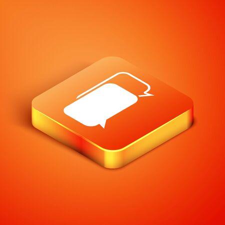 Isometric Chat icon isolated on orange background. Speech bubbles symbol. Vector Illustration Ilustracja