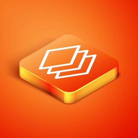 Isometric Layers icon isolated on orange background. Vector Illustration Ilustracja