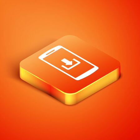 Isometric Smartphone with download icon isolated on orange background. Vector Illustration