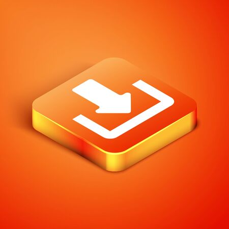 Isometric Download icon isolated on orange background. Upload button. Load symbol. Arrow point to down. Vector Illustration Ilustracja