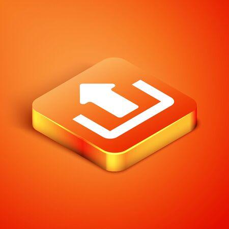 Isometric Upload icon isolated on orange background. Up arrow. Vector Illustration