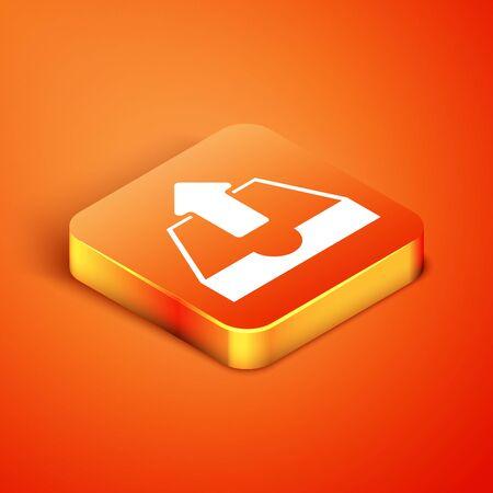 Isometric Upload inbox icon isolated on orange background. Vector Illustration
