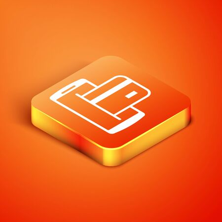 Isometric NFC Payment icon isolated on orange background. Mobile payment. NFC smartphone concept. Transfer icon. Vector Illustration