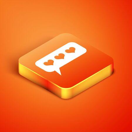 Isometric Like and heart icon isolated on orange background. Counter Notification Icon. Follower Insta. Vector Illustration Ilustracja
