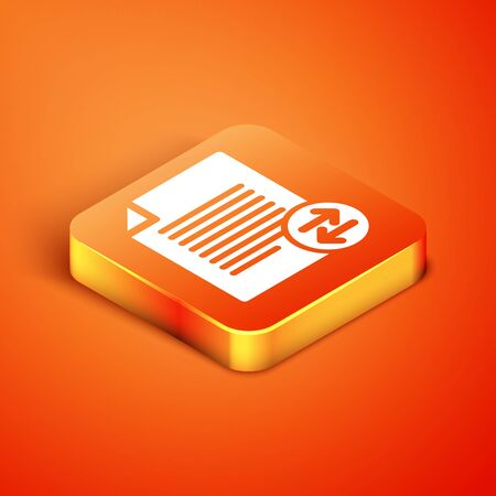Isometric Transfer files icon isolated on orange background. Copy files, data exchange, backup, PC migration, file sharing concepts. Vector Illustration