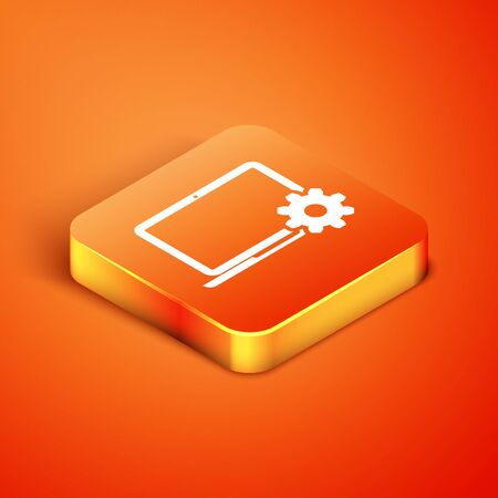 Isometric Laptop and gear icon isolated on orange background. Laptop service concept. Adjusting, service, setting, maintenance, repair, fixing. Vector Illustration Ilustracja