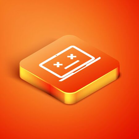 Isometric Dead laptop icon isolated on orange background. 404 error like laptop with dead emoji. Fatal error in pc system. Vector Illustration