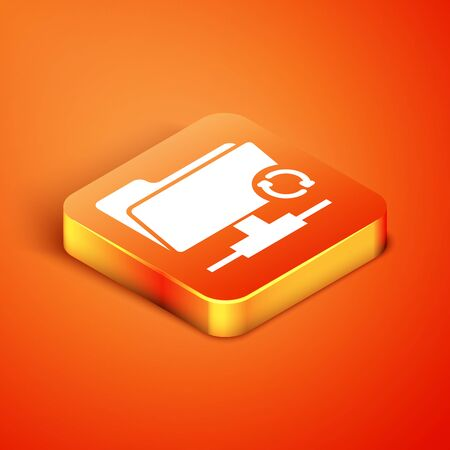 Isometric FTP sync refresh icon isolated on orange background. Software update, transfer protocol, router, teamwork tool management, copy process. Vector Illustration