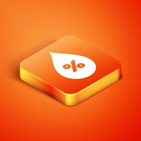 Isometric Water drop percentage icon isolated on orange background. Humidity analysis. Vector Illustration