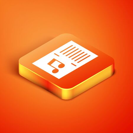 Isometric Music book with note icon isolated on orange background. Music sheet with note stave. Notebook for musical notes. Vector Illustration