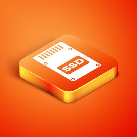 Isometric SSD card icon isolated on orange background. Solid state drive sign. Storage disk symbol. Vector Illustration