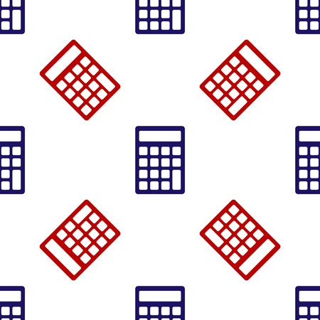 Blue and red Calculator icon isolated seamless pattern on white background. Accounting symbol. Business calculations mathematics education and finance. Vector Illustration Ilustracja