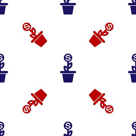 Blue and red Dollar plant in the pot icon isolated seamless pattern on white background. Business investment growth concept. Money savings and investment. Vector Illustration