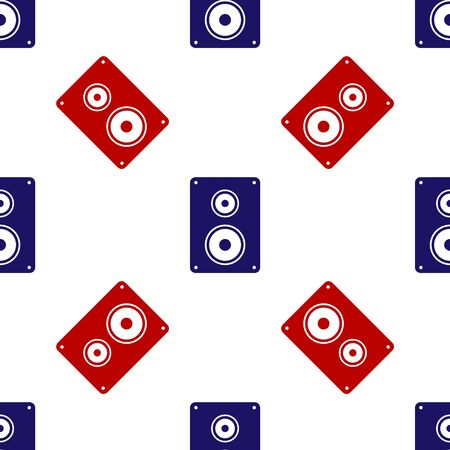 Blue and red Stereo speaker icon isolated seamless pattern on white background. Sound system speakers. Music icon. Musical column speaker bass equipment. Vector Illustration