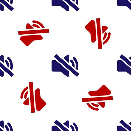 Blue and red Speaker mute icon isolated seamless pattern on white background. No sound icon. Volume Off symbol. Vector Illustration Ilustracja