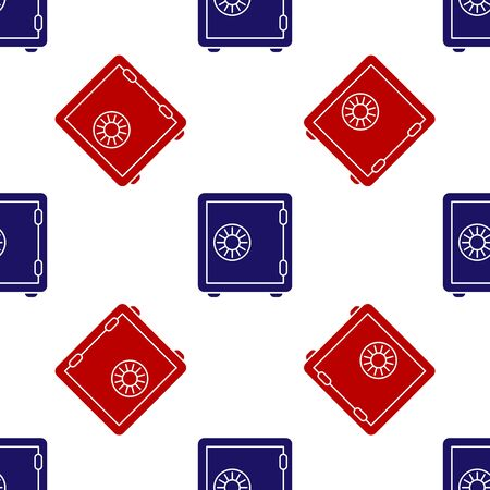 Blue and red Safe icon isolated seamless pattern on white background. The door safe a bank vault with a combination lock. Reliable Data Protection. Vector Illustration