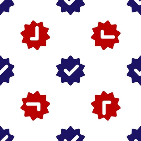 Blue and red Approved or certified medal with ribbons and check mark icon isolated seamless pattern on white background. Vector Illustration