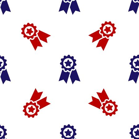 Blue and red Medal with star icon isolated seamless pattern on white background. Winner achievement sign. Award medal. Vector Illustration