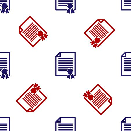 Blue and red Certificate template icon isolated seamless pattern on white background. Achievement, award, degree, grant, diploma. Business success certificate. Vector Illustration