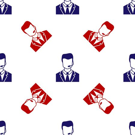 Blue and red Man with a headset icon isolated seamless pattern on white background. Support operator in touch. Concept for call center, client support service. Vector Illustration Ilustracja