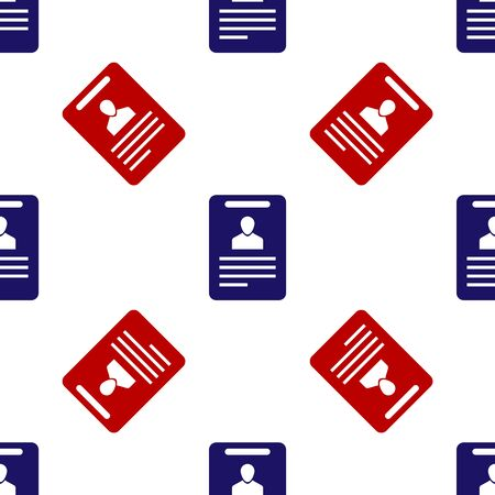 Blue and red Identification badge icon isolated seamless pattern on white background. It can be used for presentation, identity of the company, advertising. Vector Illustration