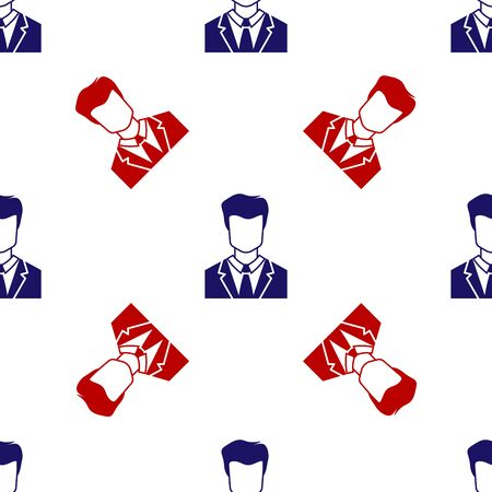 Blue and red User of man in business suit icon isolated seamless pattern on white background. Business avatar symbol - user profile icon. Male user sign. Vector Illustration