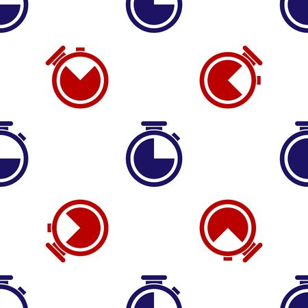 Blue and red Stopwatch icon isolated seamless pattern on white background. Time timer sign. Vector Illustration