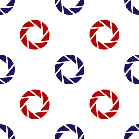 Blue and red Camera shutter icon isolated seamless pattern on white background. Vector Illustration
