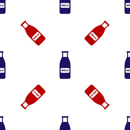 Blue and red Closed glass bottle with milk and cap icon isolated seamless pattern on white background. Vector Illustration Ilustracja