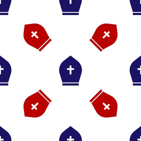 Blue and red Pope hat icon isolated seamless pattern on white background. Christian hat sign. Vector Illustration