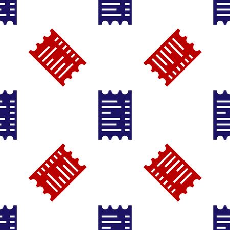Blue and red Paper check and financial check icon isolated seamless pattern on white background. Paper print check, shop receipt or bill. Vector Illustration