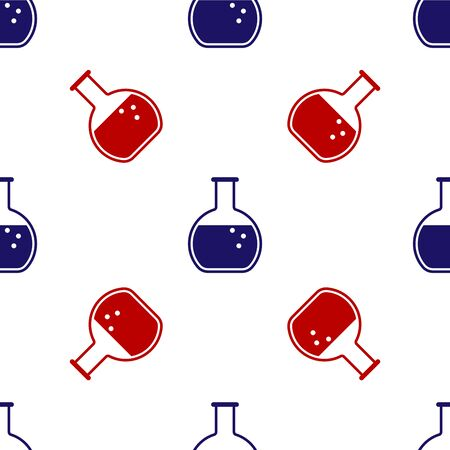 Blue and red Test tube and flask - chemical laboratory test icon isolated seamless pattern on white background. Vector Illustration