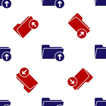 Blue and red Download arrow with folder icon isolated seamless pattern on white background. Vector Illustration Vectores